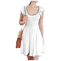 Lady White Striped Detail Scoop Neck Cap Sleeve Pullover DressM