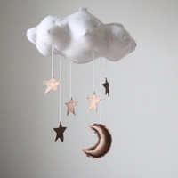 Bronze Moon and Star Cloud Mobile- modern fabric sculpture for baby nursery decor in white linen and metallic faux leather