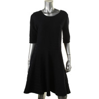 Ivanka Trump Womens Ribbed Knit Knee-Length Wear to Work Dress