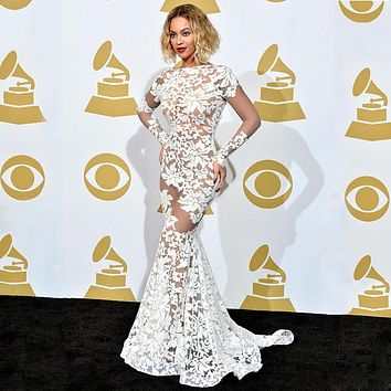 Beyonce See Through Lace Evening Dress Long Sleeves Floor Length Open Back White Summer Lace Dress for Evening LZ099