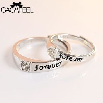 GAGAFEEL Couple Ring Genuine 925 Sterling Silver Jewelry For Engagement Wedding Party Trendy Open Design For Men Lover