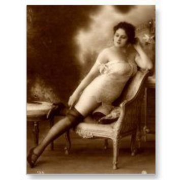 Vintage Naughty French Pin Up Girl Photograph Postcard