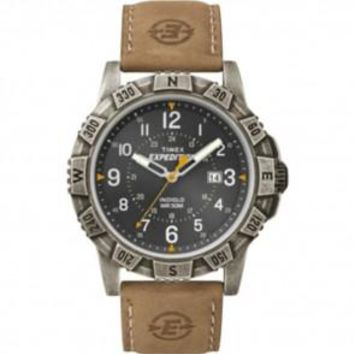 Men's Rugged Timex Expedition Watch w/ Date Black Face Tan Leather Band