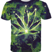 Weed leaf Constellation t shirt Galaxy Nebula Space Drug tees