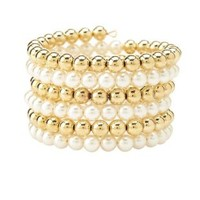 Gold Coiled Pearl & Bead Cuff Bracelet by Charlotte Russe