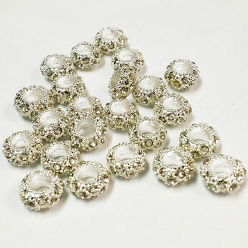 20 Clear Rhinestone Big Hole Beads, Jewelry Supply, 6x10mm Big Hole Beads,  Jewelry Findings, Clear Silver Tone Rhinestone Crystal Beads
