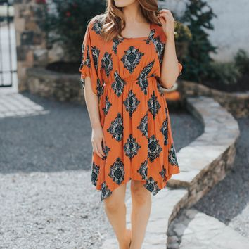 London Stroll Dress, Rust / Multi
