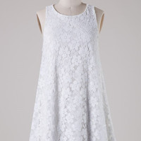 Lace Trapeze Dress - White