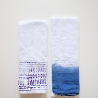 Indigo & Block Printed Flour Sack Tea Towel Set, Desert & Valley
