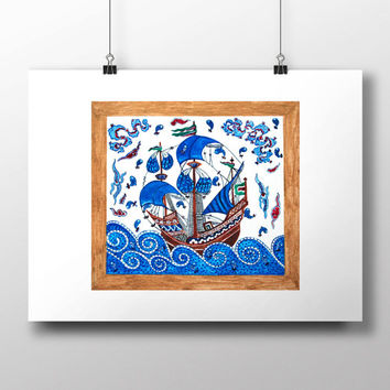 Ottoman Galleon Art Watercolor Print Turkish Digital Print Fish Wall Art Traditional Wall Decor Wall Hanging