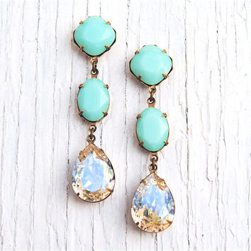 Mint Green Earrings Moonlight Pear Swarovski Crystal Rhinestone Drop Earrings Pastel Post Dangle or Clip on Pear Earrings Fiesta Mashugana