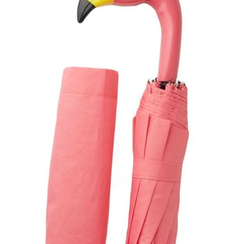 Pink Flamingo Foldable Travel Umbrella