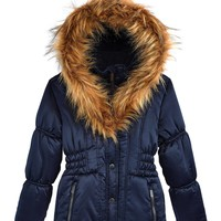 Rothschild Big Girls' Hooded Puffer Jacket With Faux-Fur Trim