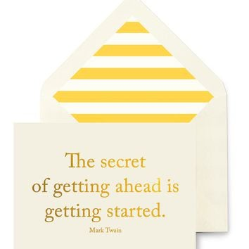The Secret To Getting Ahead Is Getting Started Greeting Card, Single Folded Card or Boxed Set of 8