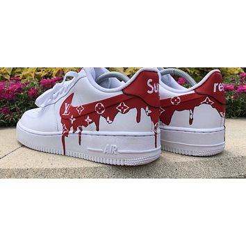 "Supreme airforce ones L V"" (with front and back tab) Customs red"