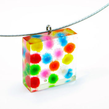 Rainbow dotted square resin pendant. Modern jewelry, Resin jewelry. Rainbow. chunky resin. Clear