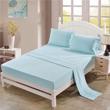 Cool Soft flat and fitted sheet set US King/Queen size solid color flowers Bed Linens 4pcs/set girls bedding sabanas cama matrimonioAT_93_12