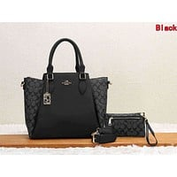 Coach Classic Women Retro Leather Handbag Tote Shoulder Bag Purse Wallet Set Two-Piece Black
