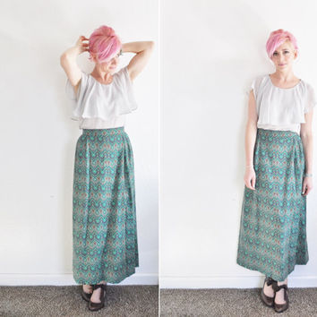 geometric boho aztec maxi skirt . 1970 high waist . hippie print pattern .large.extra large.xl