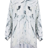 White Long Sleeve Shirt in Paint Print