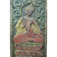 Carved Wooden Buddha Wall Panel, Hand Carved Wall Decor Art, Meditation