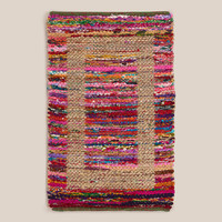 2'X3' JUTE BORDERED RECYCLED COTTON RUG