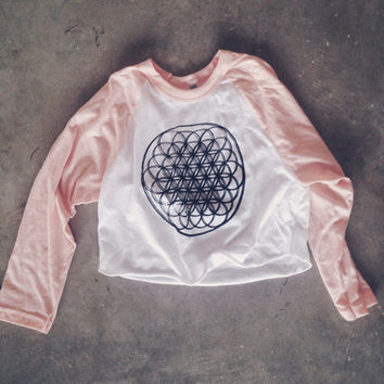 Pastel Pink Raglan Crop Top Baseball Style Cropped Graphic Tee