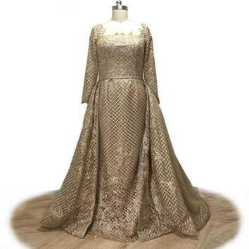 Lace Evening Dress gold Crystal Beaded Square Collar Dress Removable Train