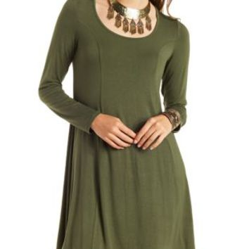 Long Sleeve Swing T-Shirt Dress by Charlotte Russe