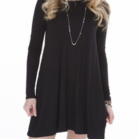 Black Tunic Dress with Pockets