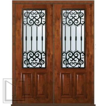 Prehung Double Door 96 Wood Alder Barcelona 2/3 Lite Wrought Iron