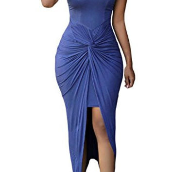 Sexy Womens Sleeveless Hig Low Knotted Slit Party Club Dress