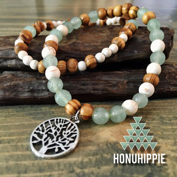 Tree of life beaded bracelet set, boho hippie yoga jewelry