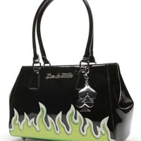 Diabla Darling Tote Black and Lime Green Sparkle