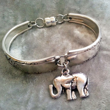 Elephant, Alabama bracelet, Roll Tide jewelry in Lady Drake circa 1940 upcycled silverware, spoon jewelry