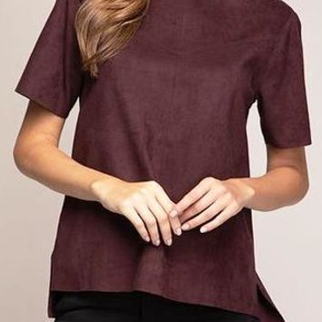 Cora Faux Suede Top in Wine