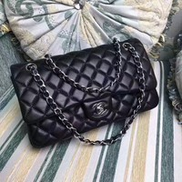 CHANEL WOMEN'S LARGE CLASSIC CAVIAR COW LEATHER CHAIN SHOULDER BAG