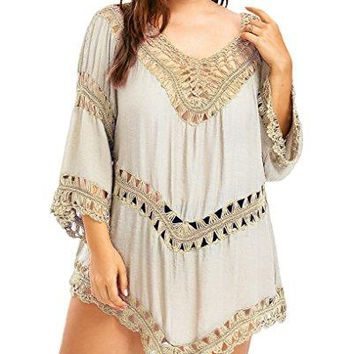 Fendxxxl Womens Oversized Beach Shirt Swimsuit Bathing Suit Cover up Crochet Tops