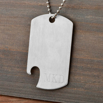 dog tag bottle opener necklace - Personalized Men's Necklace - Personalized Dog Tag Necklace (1088)