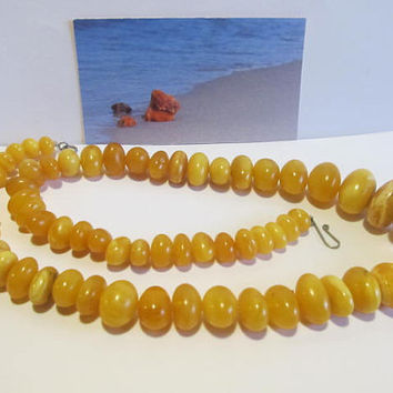 100% Natural #Antique #Baltic #Amber #Necklace, 36.7 grams #yellow egg yolk butterscotch  polished  opaque beads  for adult