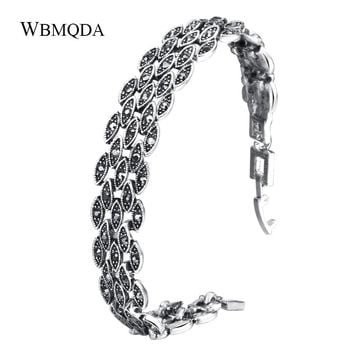 Vintage Black Crystal Eyes Bracelets For Women Accessories Unique Summer Antique Silver Bracelet Fashion Jewelry Free Shipping