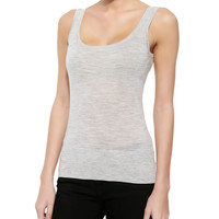 Cashmere Tank Top, Pearl Gray Melange, Size: