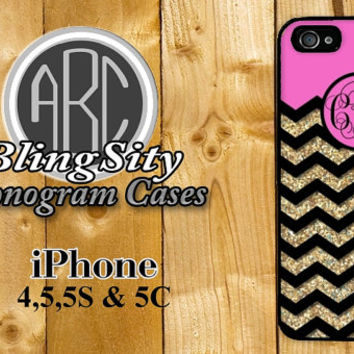 Monogram Hot Pink Gold Iphone 6 Case Glittery Chevron iPhone 4 5 5C Case Zig Zag Personalized  Not Actual Glitter