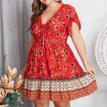 Women's temperament topless lace stitching pleated dress red