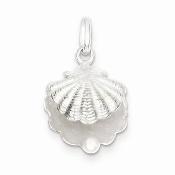 Sterling Silver Seashell with Synthetic Pearl Pendant