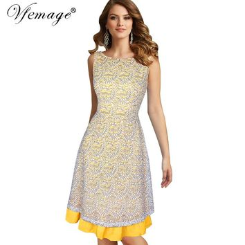 Vfemage Women Celebrity Elegant Sexy V Back Floral Lace Slim Tunic Work Business Casual Party Tea Swing Skater A-Line Dress 6533