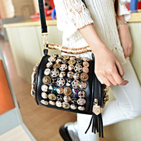 Rhinestones Studded Leather Tassel Crossbody Shoulder Handbag