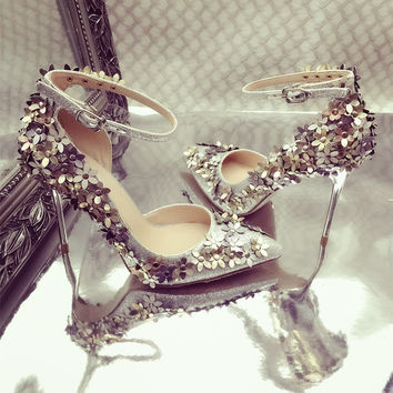 Leah Sequin Floral Pumps