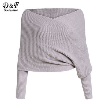 Dotfashion Grey Off The Shoulder Long Sleeve Cross Wrap V Neck Tops Women Autumn Wear Knitted Crop Sweater