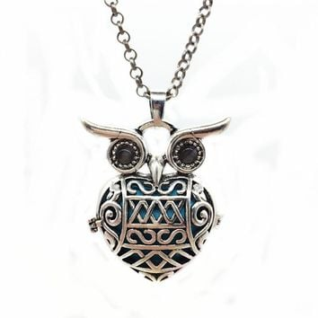 1PC Tibetan Silver Hollow Night Owl Brass Locket Essential Fragrance Oil Aromatherapy Diffuser Mexican Bola Pendant Necklace